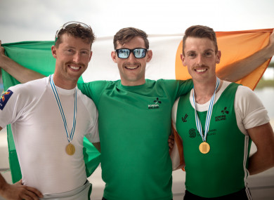 Mark O'Donovan, Paul O'Donovan and Shane O'Driscoll at the World Rowing Championships.