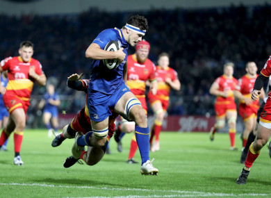 Max Deegan gets over for his first Leinster try.