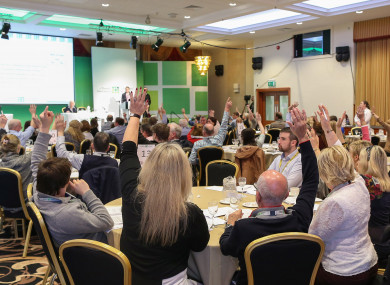 Members of the Citizens' Assembly voting on the wording of ballot questions today