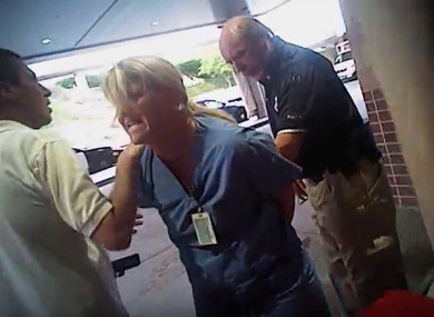 A grab from video taken from a police body camera and provided by attorney Karra Porter.