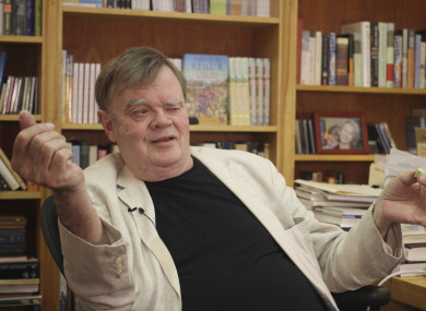 Garrison Keillor, creator and former host of A Prairie Home Companion, talks at his St. Paul, Minnesota office.