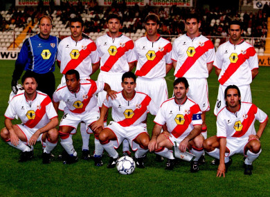 The famous red stripe of Rayo Vallecano.