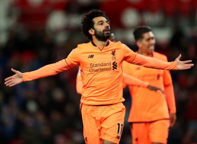 Liverpool's Mohamed Salah celebrates scoring the second goal.