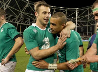 Bowe and Zebo celebrate Ireland's win over Australia last November.
