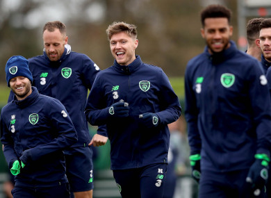 The Ireland players pictured at training on Monday.