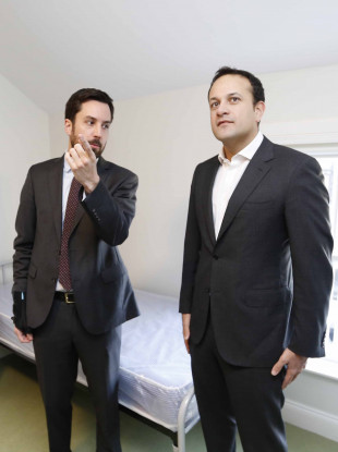 Leo Varadkar and Eoghan Murphy visit the new homeless facility at Longfields 10/11 Fitzwilliam Street Lower, Dublin 2.