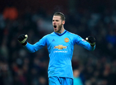 De Gea celebrates United's win.