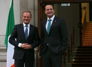 President of the European Council, Donald Tusk meets with Taoiseach Leo Varadkar at Government Buildings in Dublin.