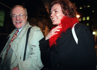 In this 7 December 1999, file photo, attorney Michael Carey, left, and his client Annette Sorensen leave New York's U.S. District court after the second day of trial of her $20 million lawsuit against the city