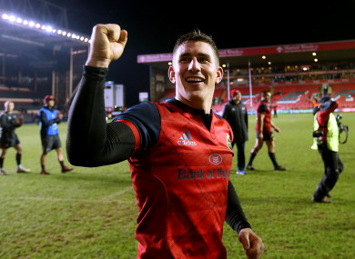 Keatley celebrates Sunday's win over Leicester.
