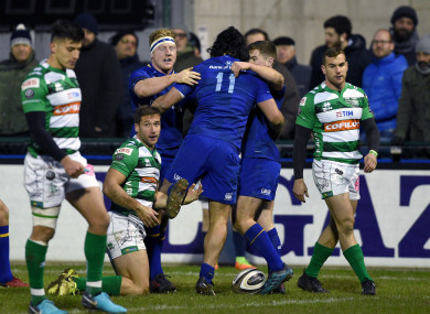 Lowe celebrates his first Leinster try.