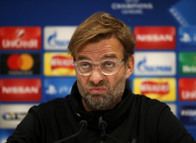 The Liverpool manager during this afternoon's press conference.