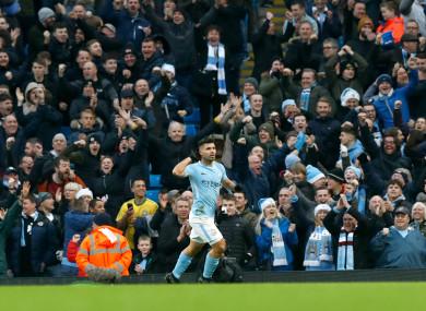 Sergio Aguero celebrates a goal.