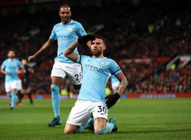Nicolás Otamendi celebrates scoring Man City's second goal on Sunday.