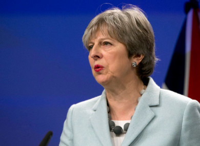 British Prime Minister Theresa May speaking during a press conference this morning