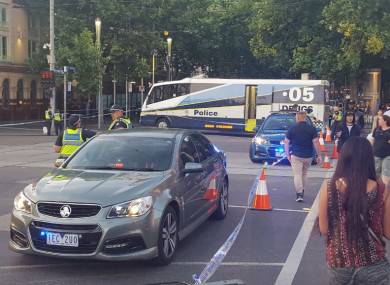 Police at the scene after the incident in Melbourne