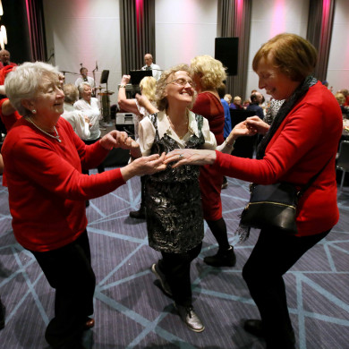 roke Park's 16th annual senior citizen Christmas Lunch took place today. 650 of the stadium's elderly neighbours were in attendance for Christmas dinner with all the trimmings and festive entertainment afterwards. Over 150 Croke Park staff & community gardaí volunteer at the annual event. Pictured having a dance are, from left, Cecilia Hagarty, Mairead Mahon and Madge Mulligan.