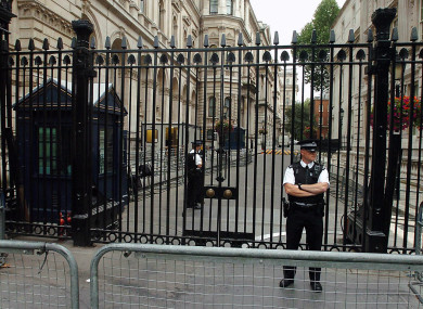 Security gates at Downing Street in London.