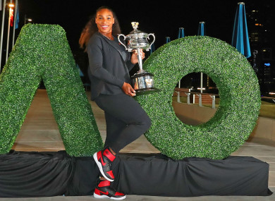 Serena Williams sporting the Australian Open trophy