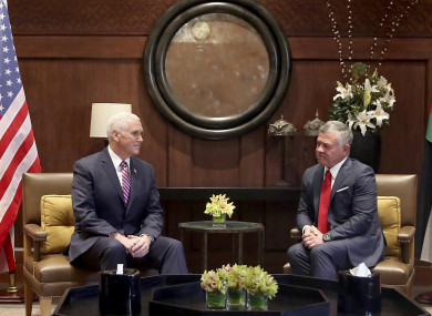 US Vice President Mike Pence meets with King Abdullah II at the Husseiniya Palace in Amman, Jordan