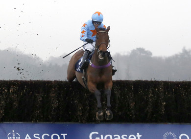 Un De Sceaux ridden by Paul Townend clear the last fence before going on to win The Royal Salute Whisky Clarence House Steeple Chase Race run.