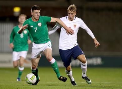 Rice, in action for Ireland's U21s, alongside Ulrik Jenssen of Norway.