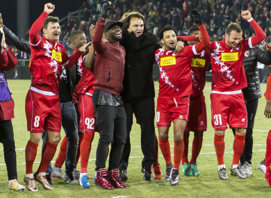 Constantin celebrates Sion's scoreless draw with Liverpool in 2015,