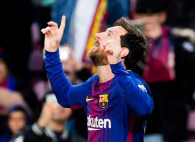 Barcelona superstar Lionel Messi celebrates scoring against Levante