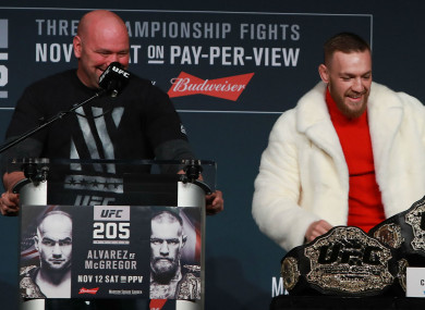 UFC president Dana White and lightweight champion Conor McGregor.