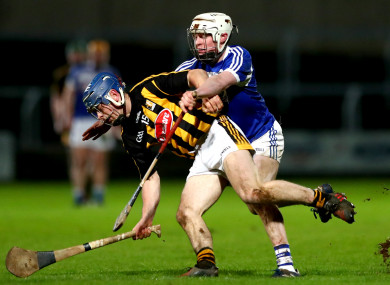 Michael Brennan and Colm Stapleton battle for possession at O'Moore Park.