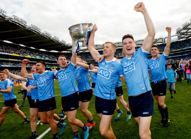 Dublin players celebrating last year's All-Ireland final win.