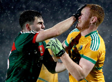 Mayo's Ross Egan and Colm Moreton of Leitrim.