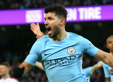 The striker scored two as Man City defeated Burnley on Saturday.
