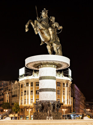 A statue of a warrior on a horse, believed to be of Alexander the Great, in Skopje, Macedonia.