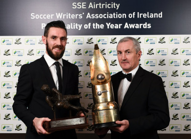 Award winners Mark McNulty and John Caulfield of Cork City.