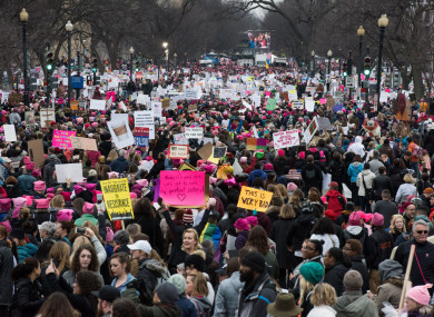 Protesters fill the National Mall near the Capitol carry signs near during the Women's March on Washington on January 21, 2017.