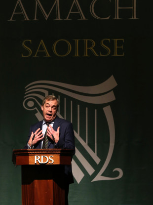 Farage speaking in the RDS today.