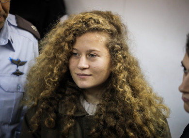 File photo of Ahed Tamimi attending a hearing at the military court of the Israeli-run Ofer military prison in the West Bank city of Beitunia.