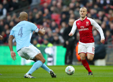 Arsenal's Jack Wilshere (right) has criticised the officiating in Sunday's League Cup final.