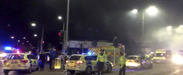 In this image taken from video made available by Gem News, police attend the scene of an incident in Leicester, central England.