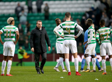 Rodgers and his players at full-time.