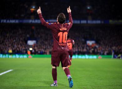 Barcelona's Lionel Messi celebrates scoring.