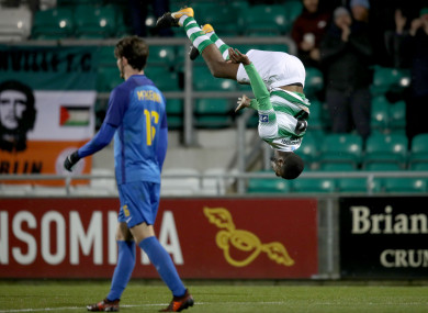 Shamrock Rovers youngster Dan Carr celebrates scoring a goal.