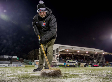 Dundalk's Davey Moran clears the penalty spot ahead of last night's game.