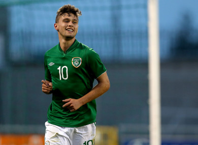 Stokes celebrates scoring for the Ireland U19s.