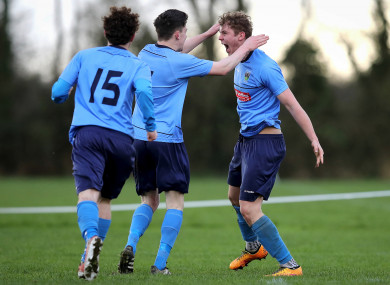 Georgie Kelly (far right) celebrates after scoring for UCD in last year's Collingwood Cup final.