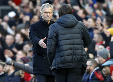 The two managers shake hands at the end of today's Premier League clash.