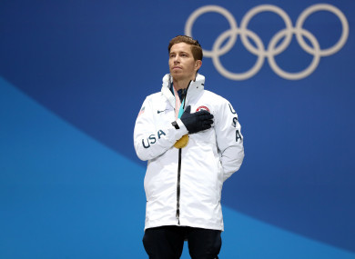 USA's Shaun White with his gold medal after victory in the Men's Halfpipe.