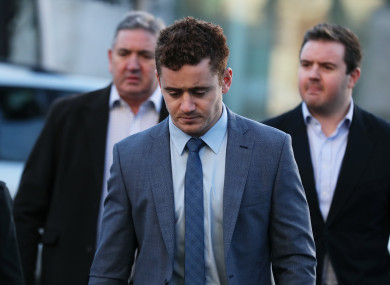 Ireland and Ulster rugby player Paddy Jackson arrives at Belfast Crown Court.