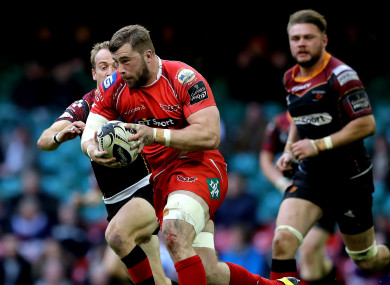 Jack Condy in possession for Scarlets against Newport Gwent Dragons in April 2016.